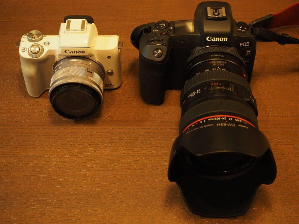 小さくて軽いカメラと大きくて重いカメラの画像